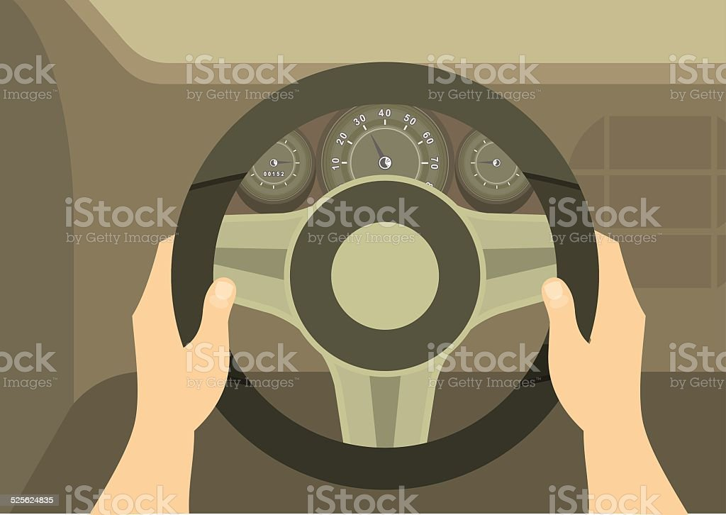 Hands Of A Driver On Steering Wheel Of A Car vector art illustration