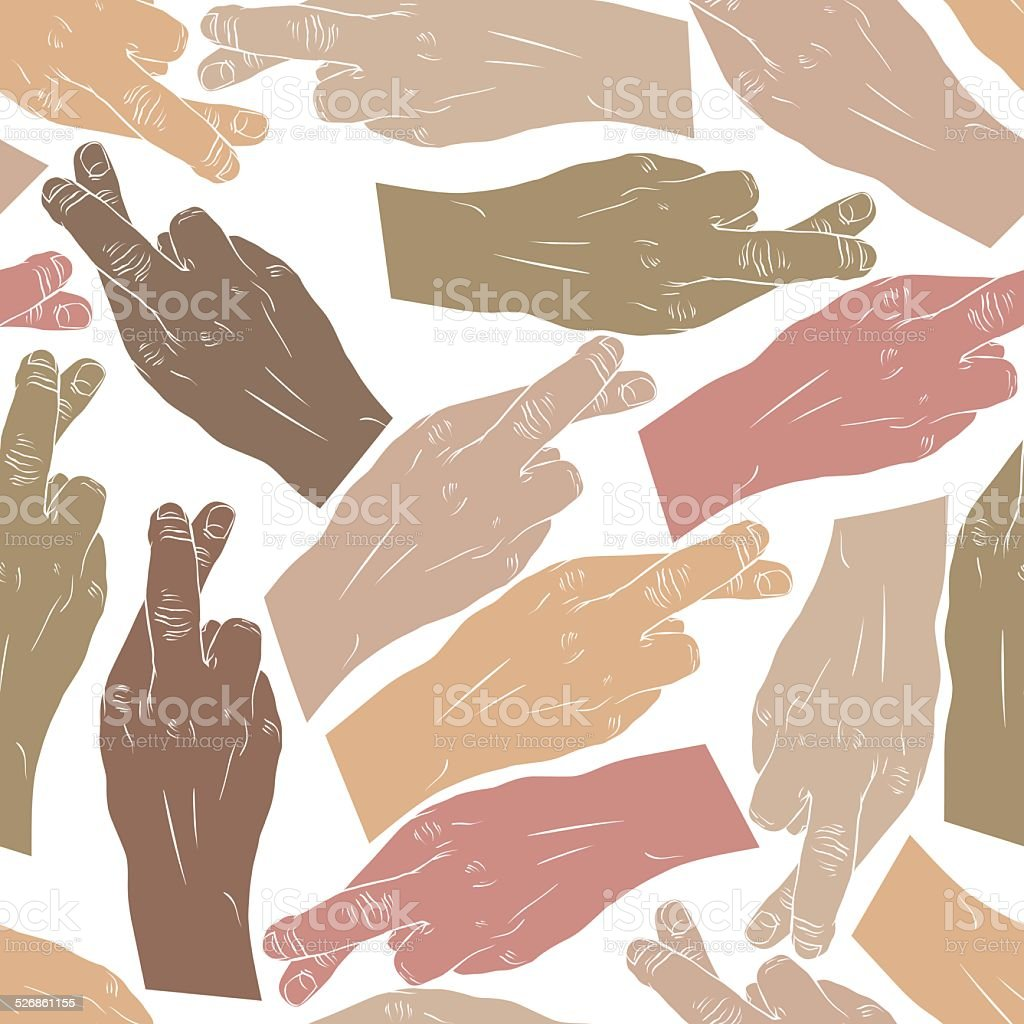 Hands of cheaters with crossed fingers seamless patter, vector vector art illustration