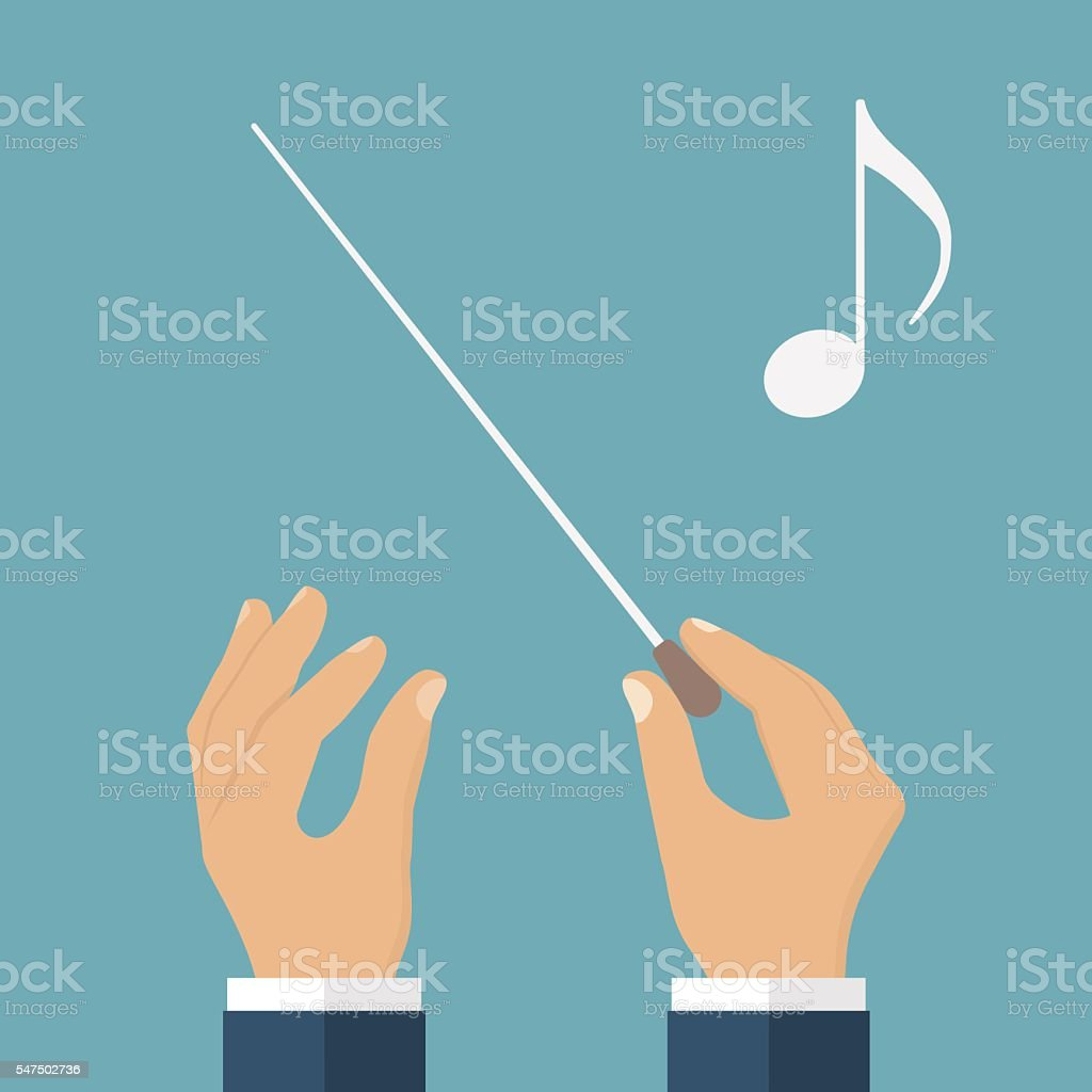Hands of conductor orchestra vector art illustration