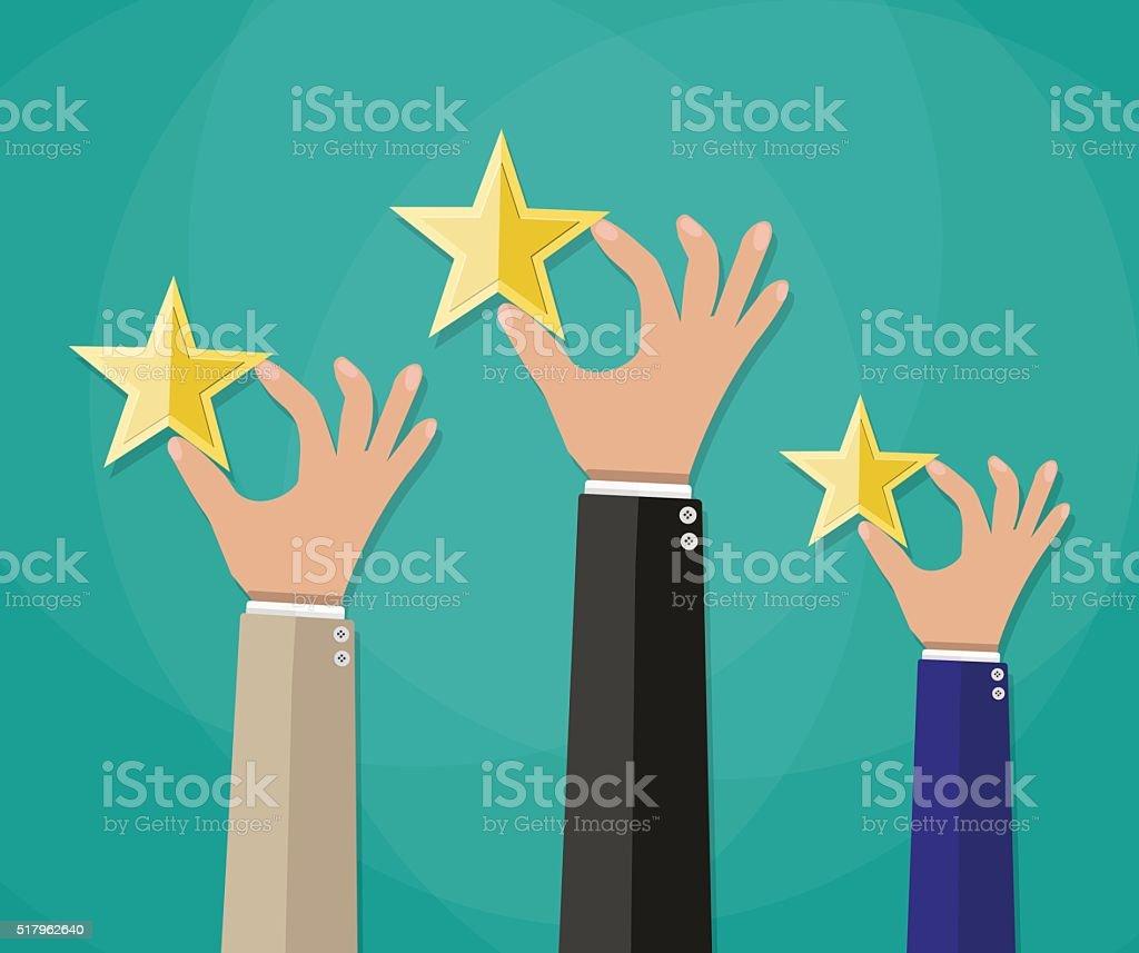 Hands of customers placing rating stars vector art illustration