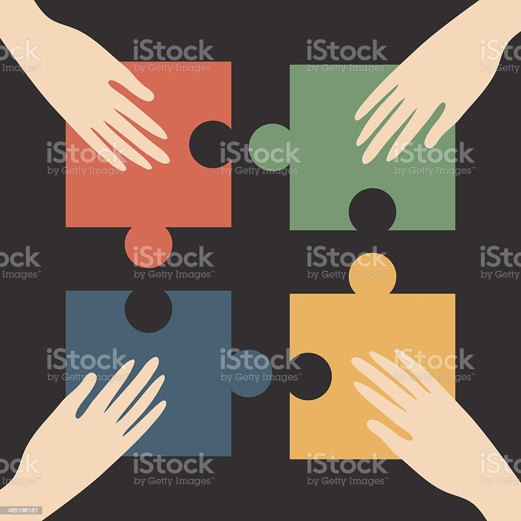Hands on different colored puzzle pieces vector art illustration