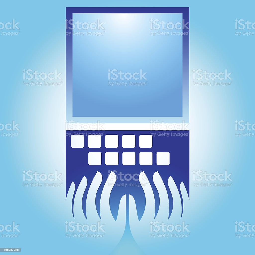Hands on Laptop - vector royalty-free stock vector art