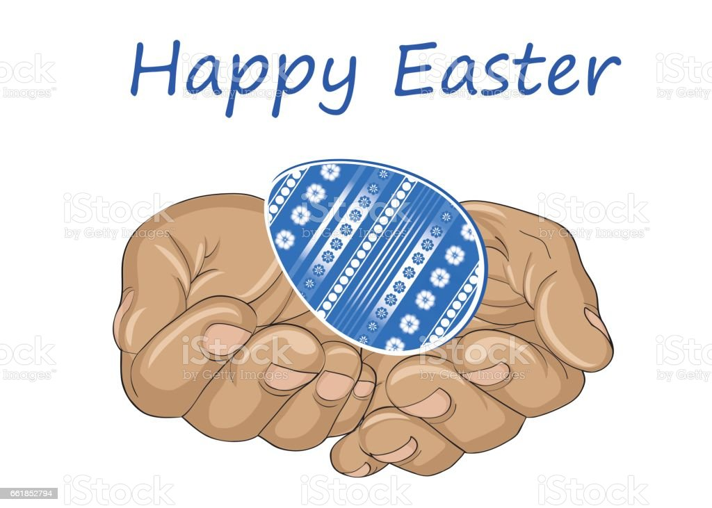 Hands open palms hold the Easter egg. Greeting card for the holiday. Vector vector art illustration