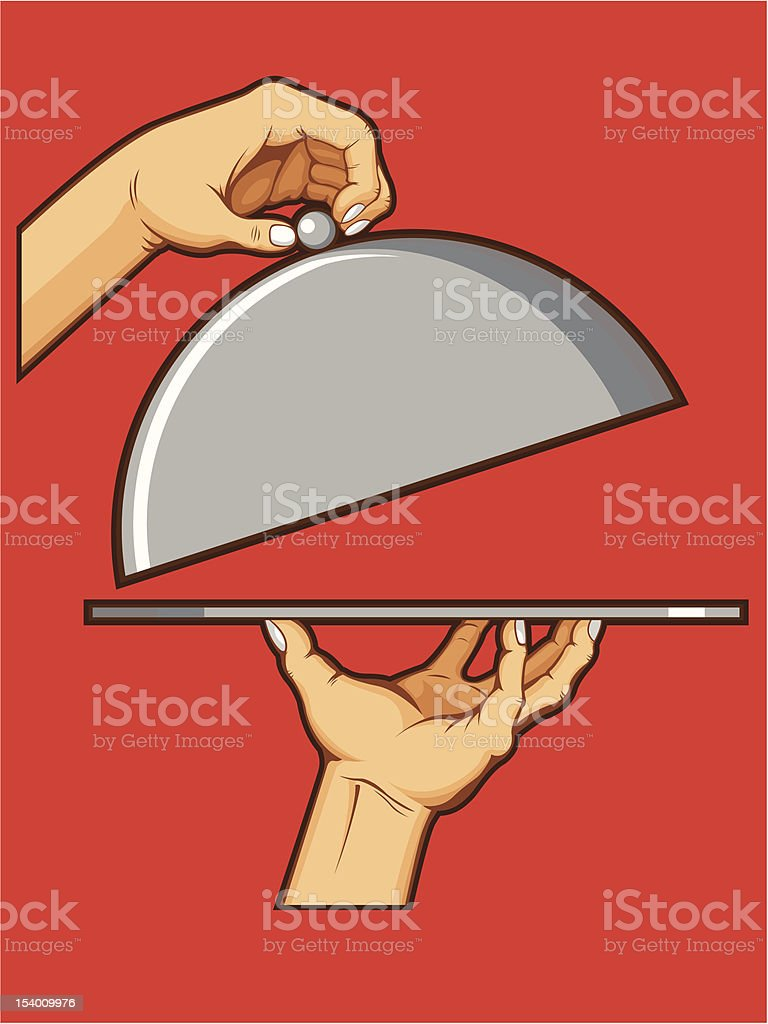 Hands Opening Tray of Food vector art illustration