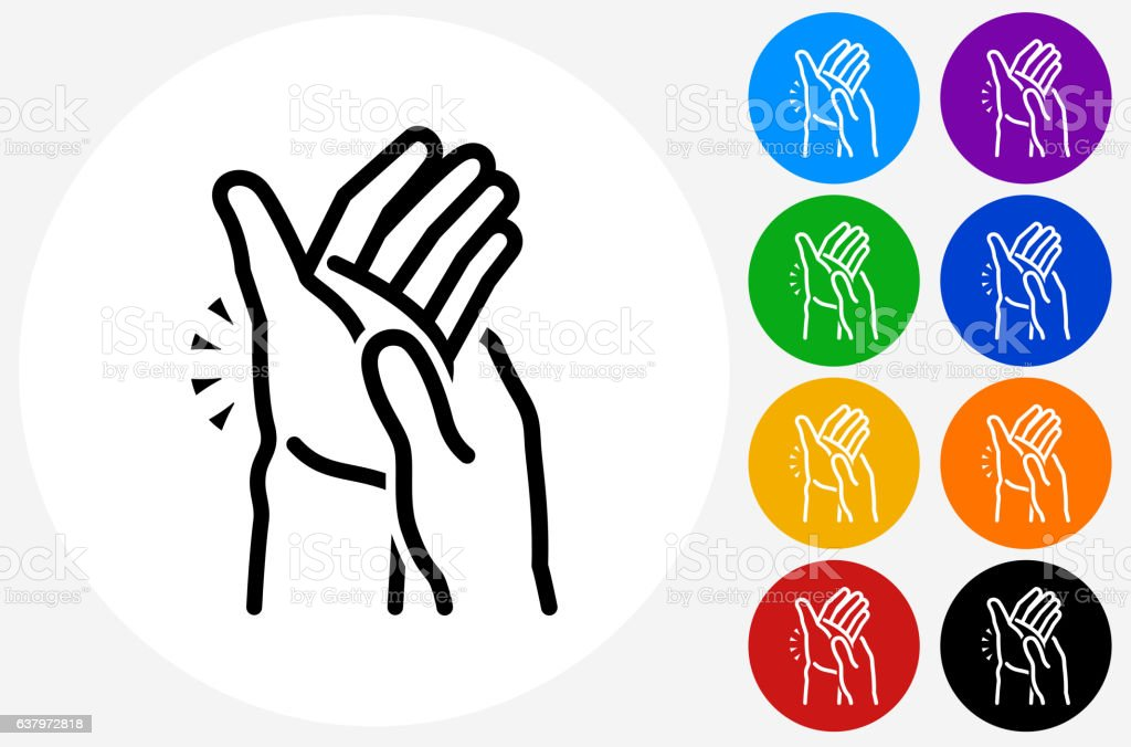 Hands Pain Icon on Flat Color Circle Buttons vector art illustration