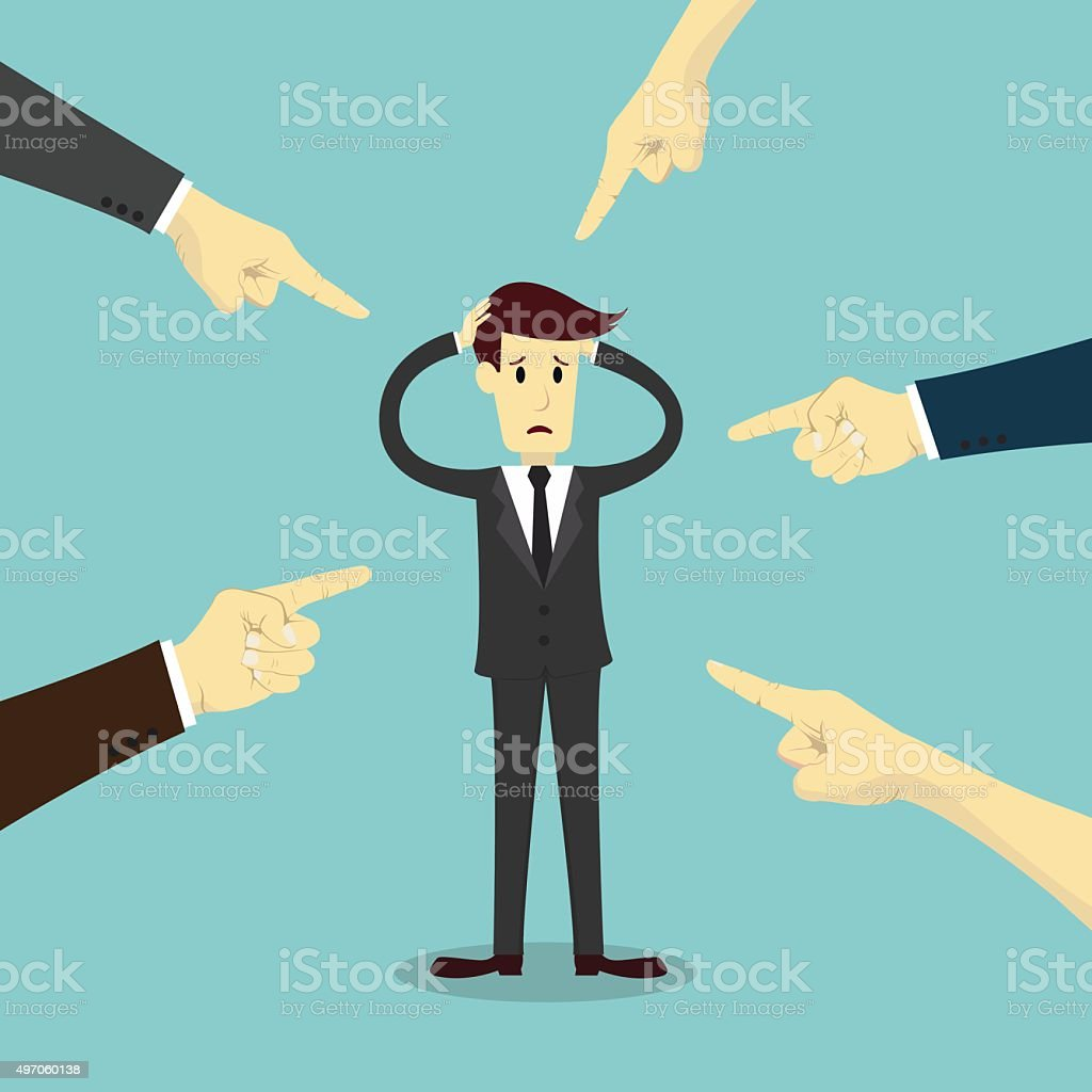 Hands pointing to blame businessman vector art illustration