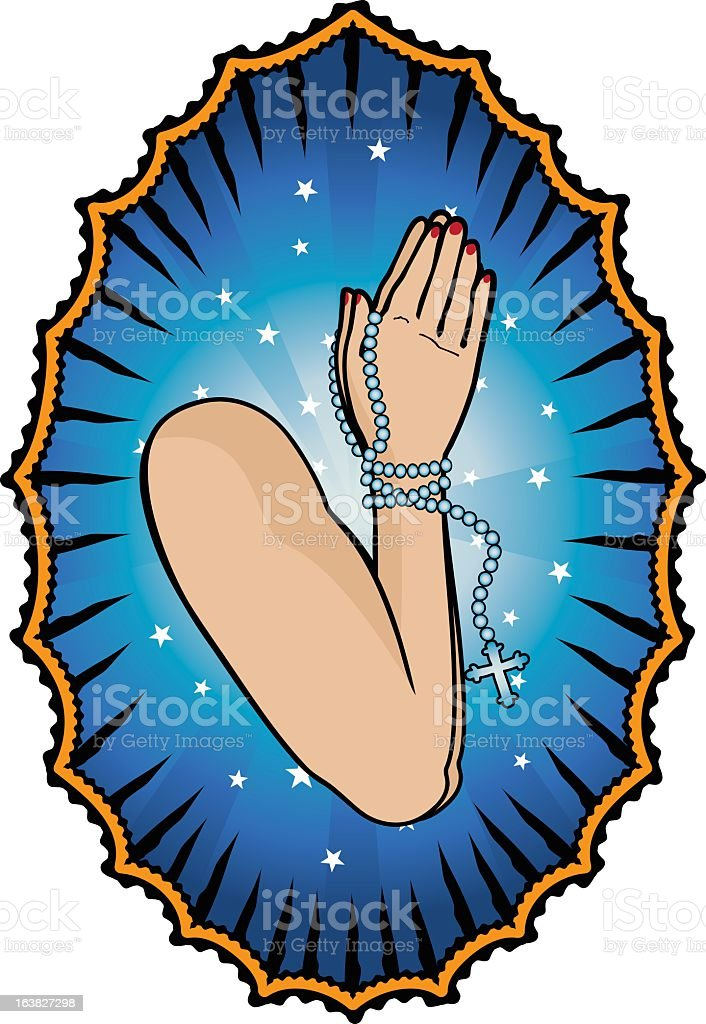 Hands Praying vector art illustration
