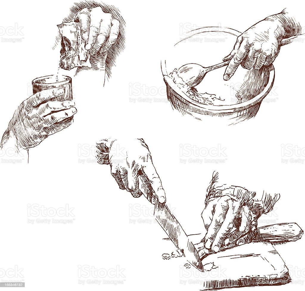 hands prepping food vector art illustration