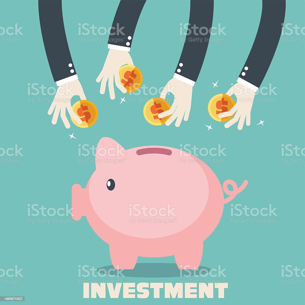 Hands putting coin into piggy-bank. Saving and investing money concept vector art illustration