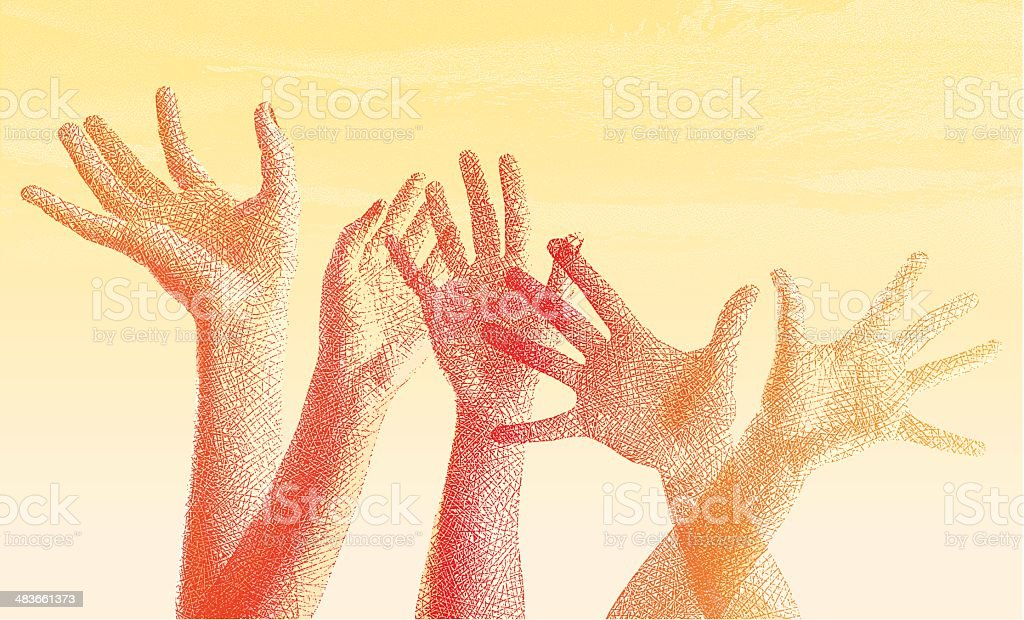 Hands Raised Etching vector art illustration