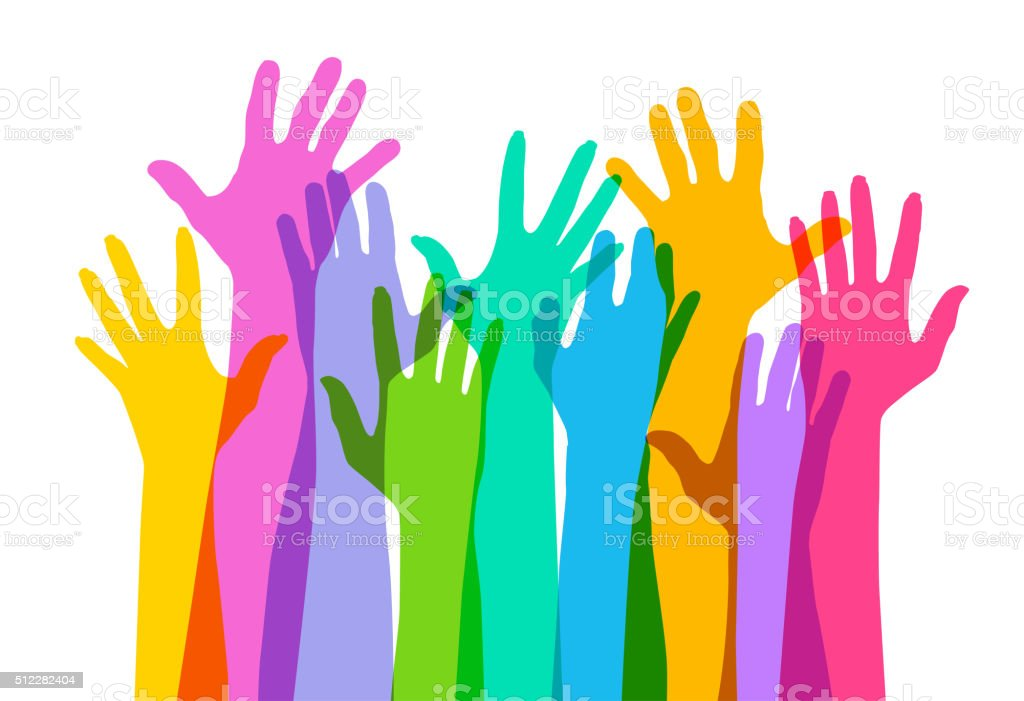 Hands raised High vector art illustration