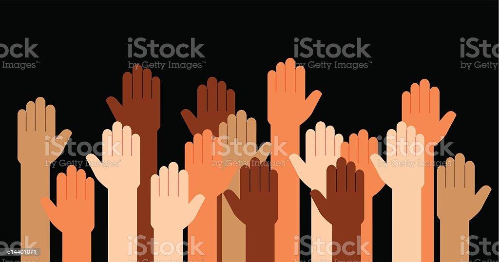 Hands Raised Multi Racial vector art illustration
