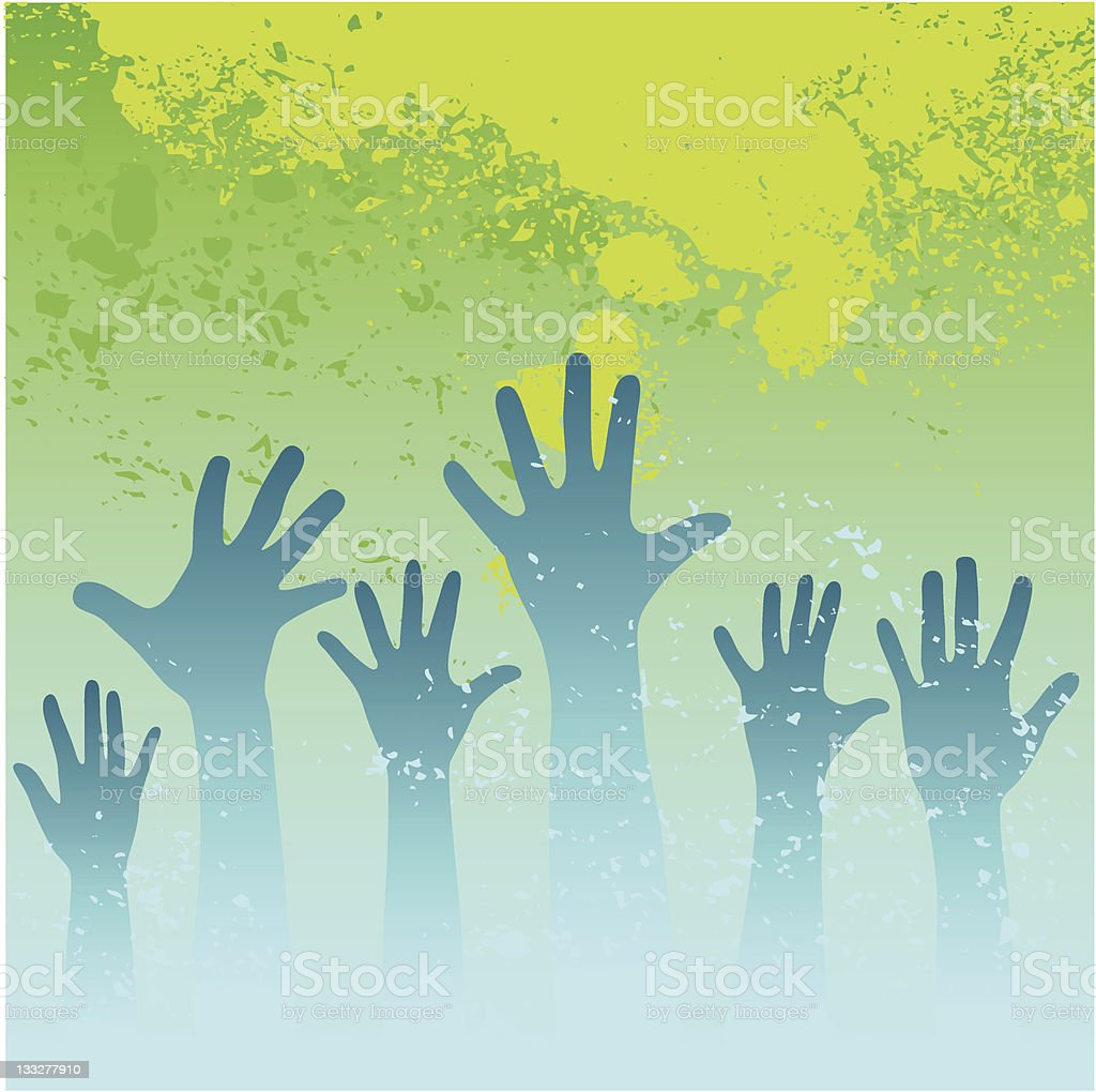 Hands raised royalty-free stock vector art
