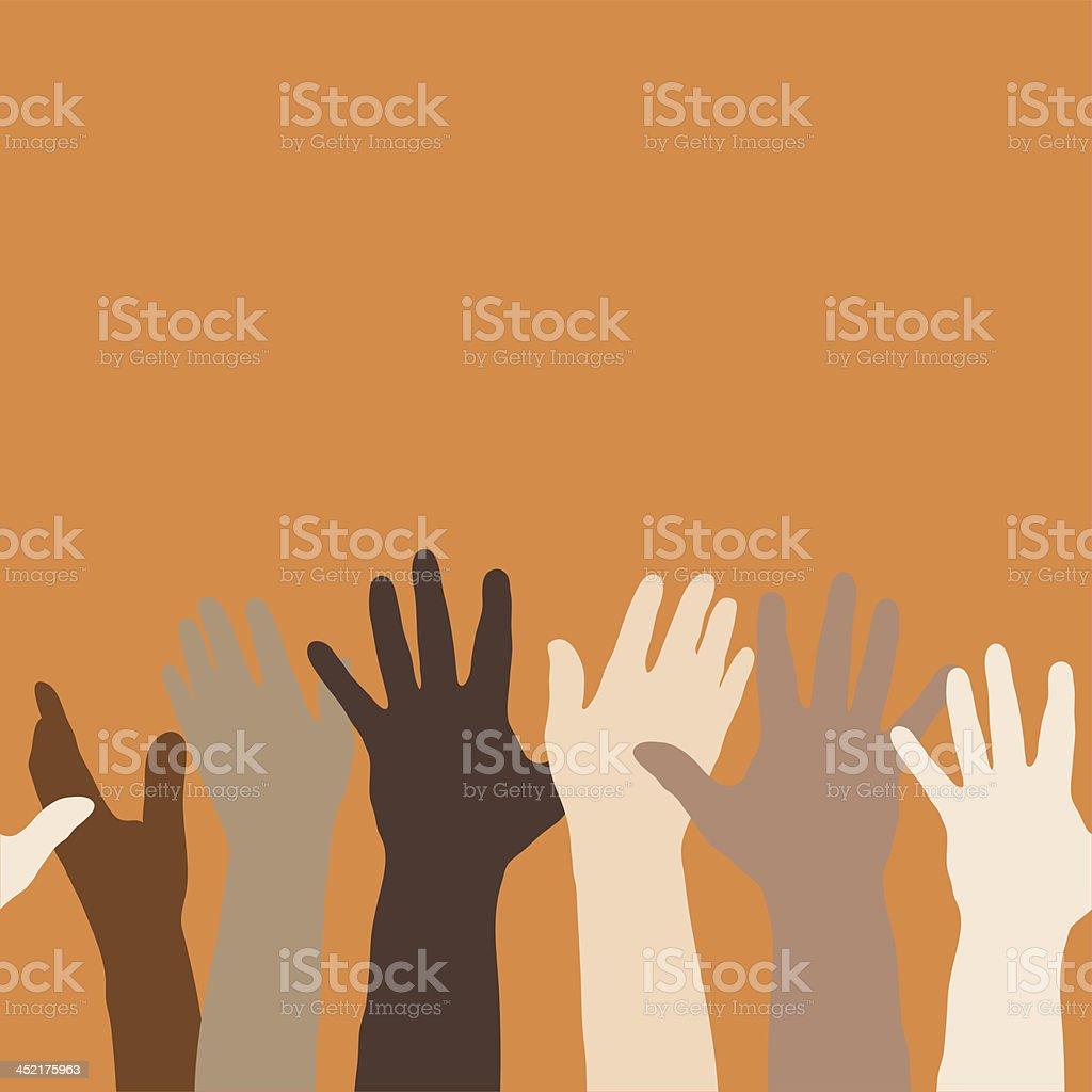 Hands Raised (horizontally seamless) royalty-free stock vector art