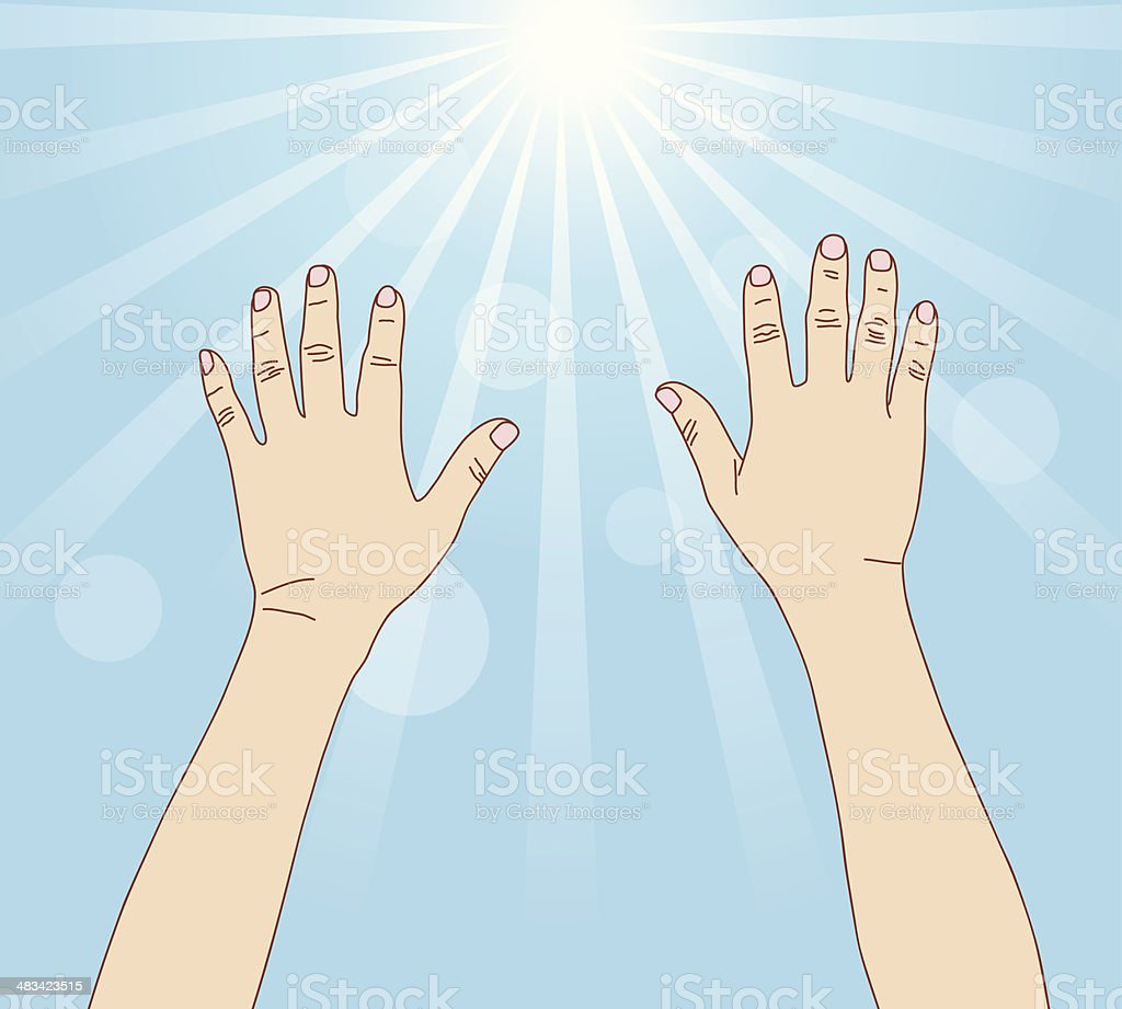 Hands reach light ray, vector format royalty-free stock vector art