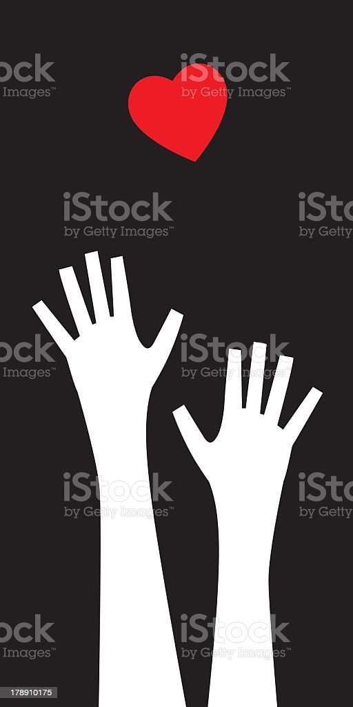 Hands Reaching For Heart royalty-free stock vector art