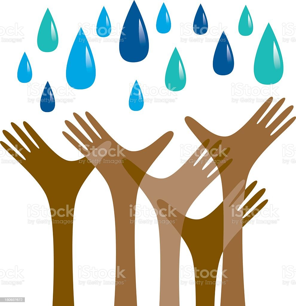 Hands reaching out for rain royalty-free stock vector art