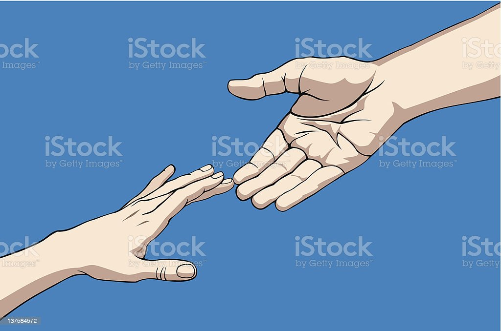 Hands reaching out to grasp one another for help vector art illustration