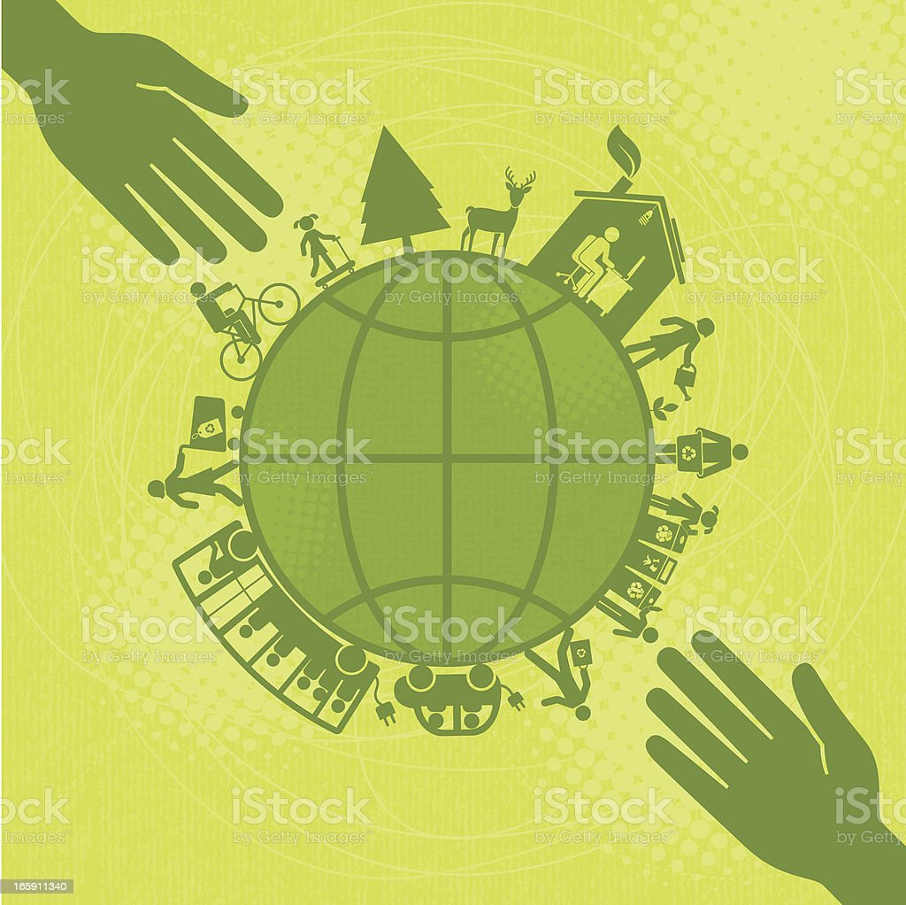 Hands Reaching Out to Make a Greener World(Green World Series) vector art illustration