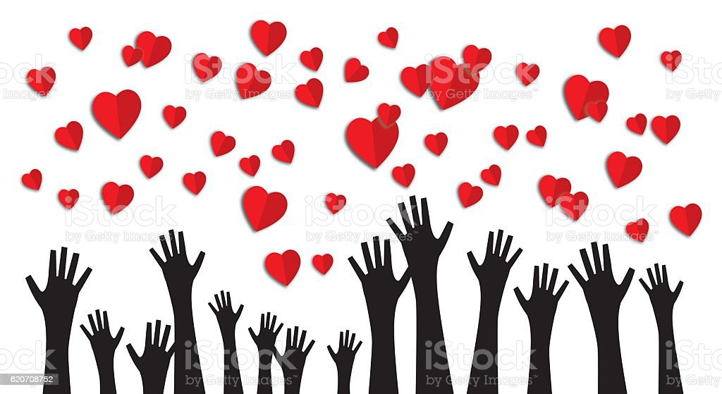 Hands Reaching Up For Hearts vector art illustration