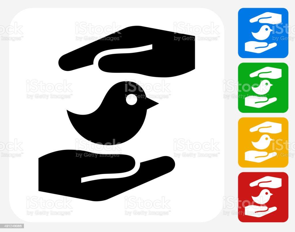 Hands Saving Bird Icon Flat Graphic Design vector art illustration