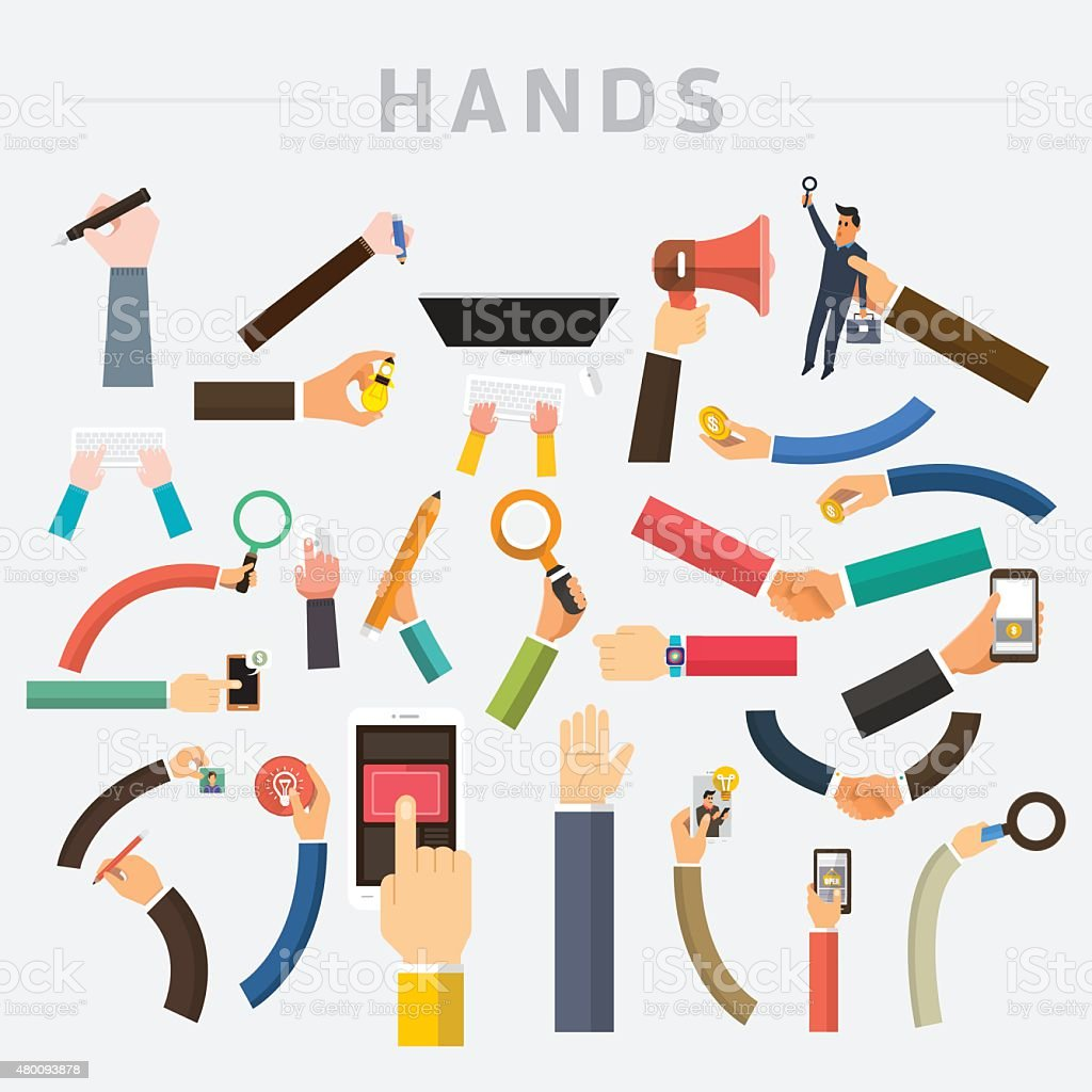 Hands set vector art illustration
