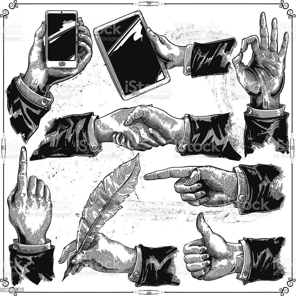 Hands set vector art illustration