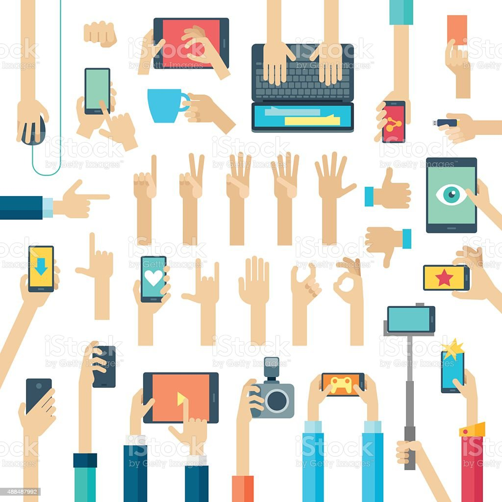 Hands set with gadgets. vector art illustration