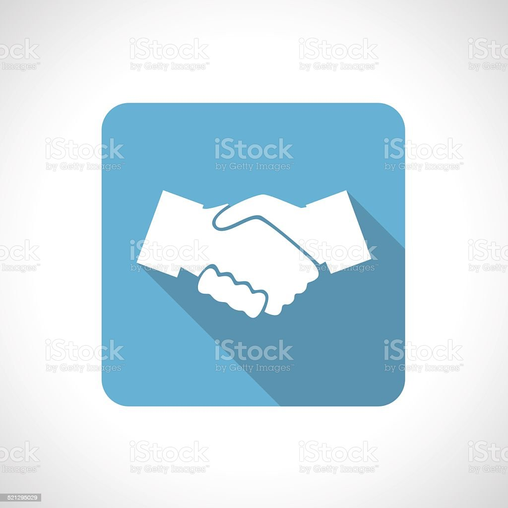 Hands shake icon with shadow. vector art illustration