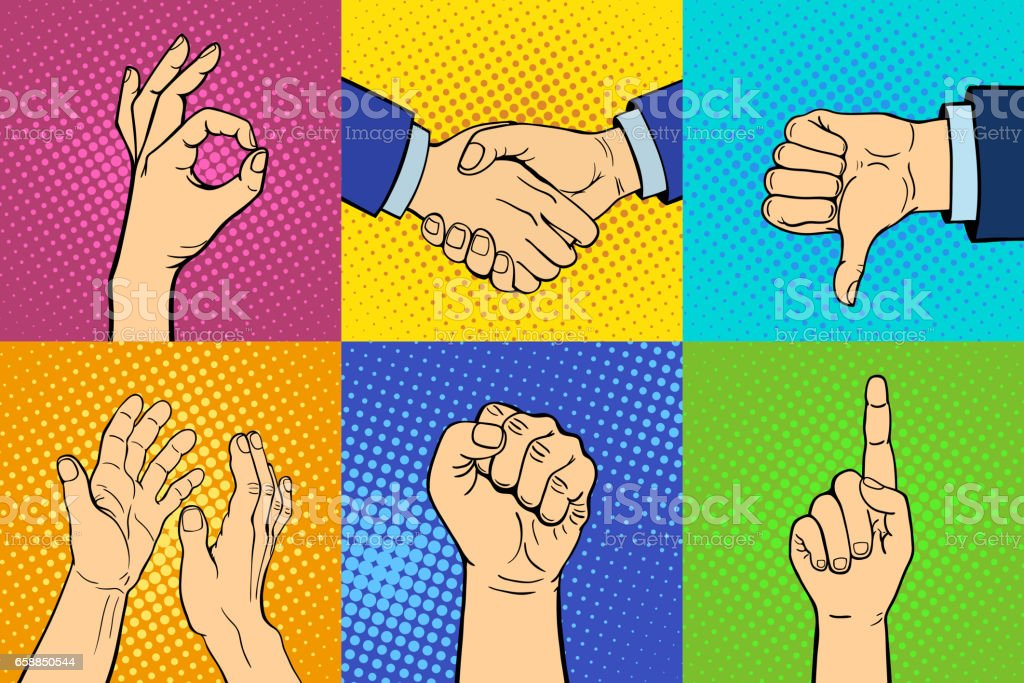 Hands showing deaf-mute different gestures human arm hold...