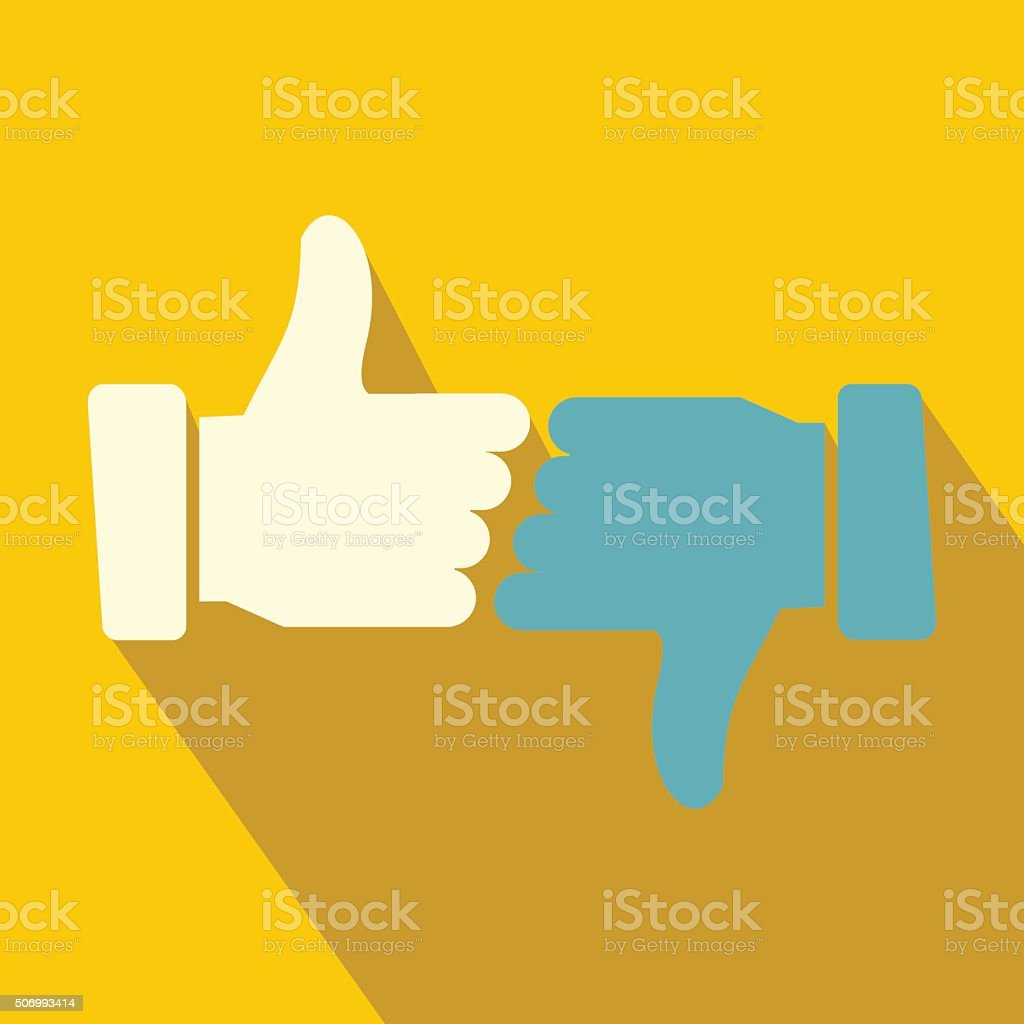 Hands showing thumbs up and down flat icon vector art illustration