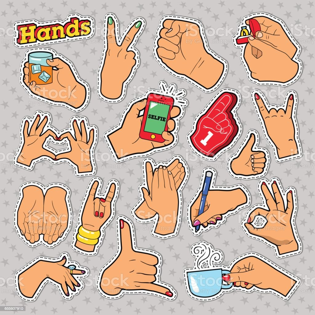 Hands Signs with Ok, Victory for Prints, Badges, Patches, Stickers vector art illustration