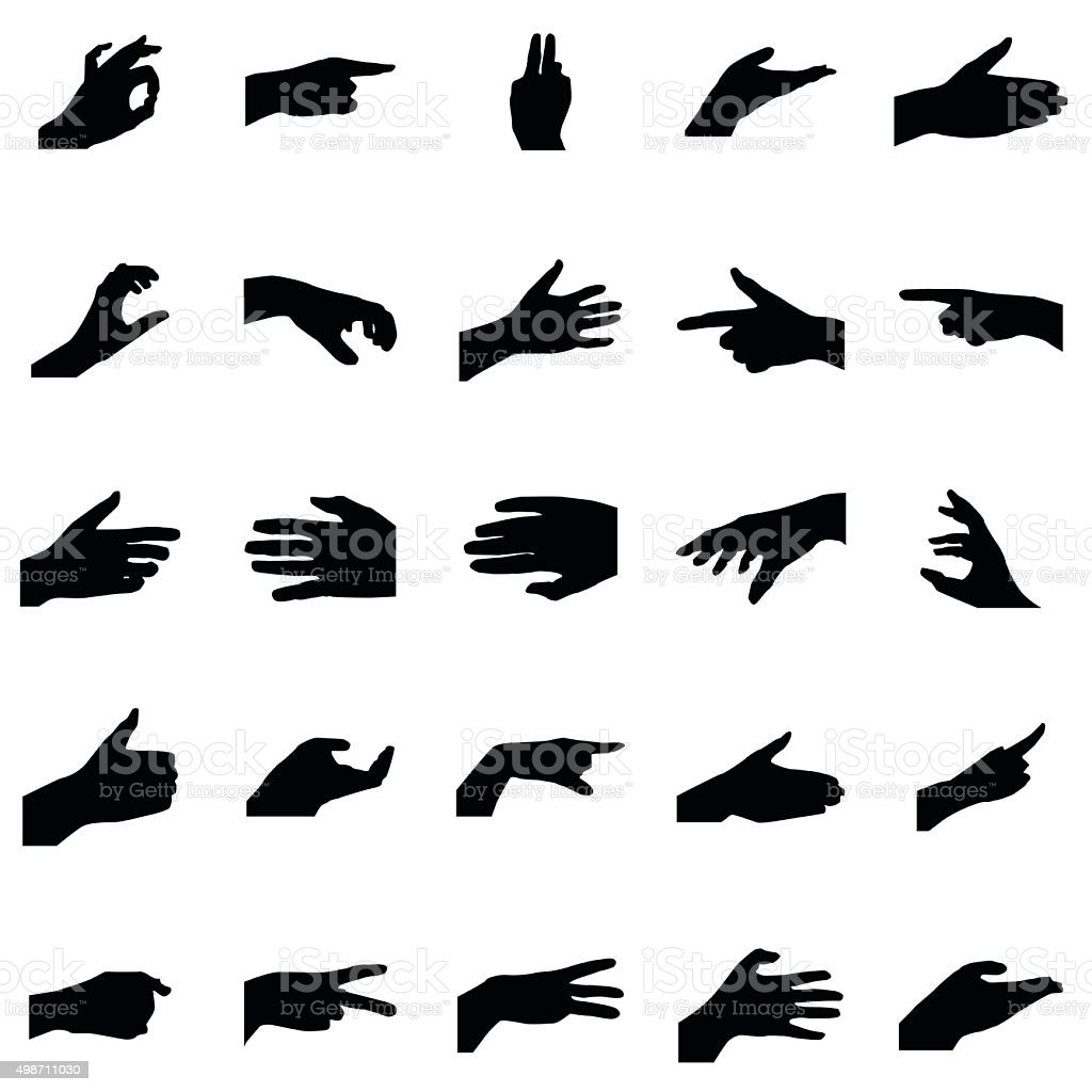 Hands silhouettes set vector art illustration