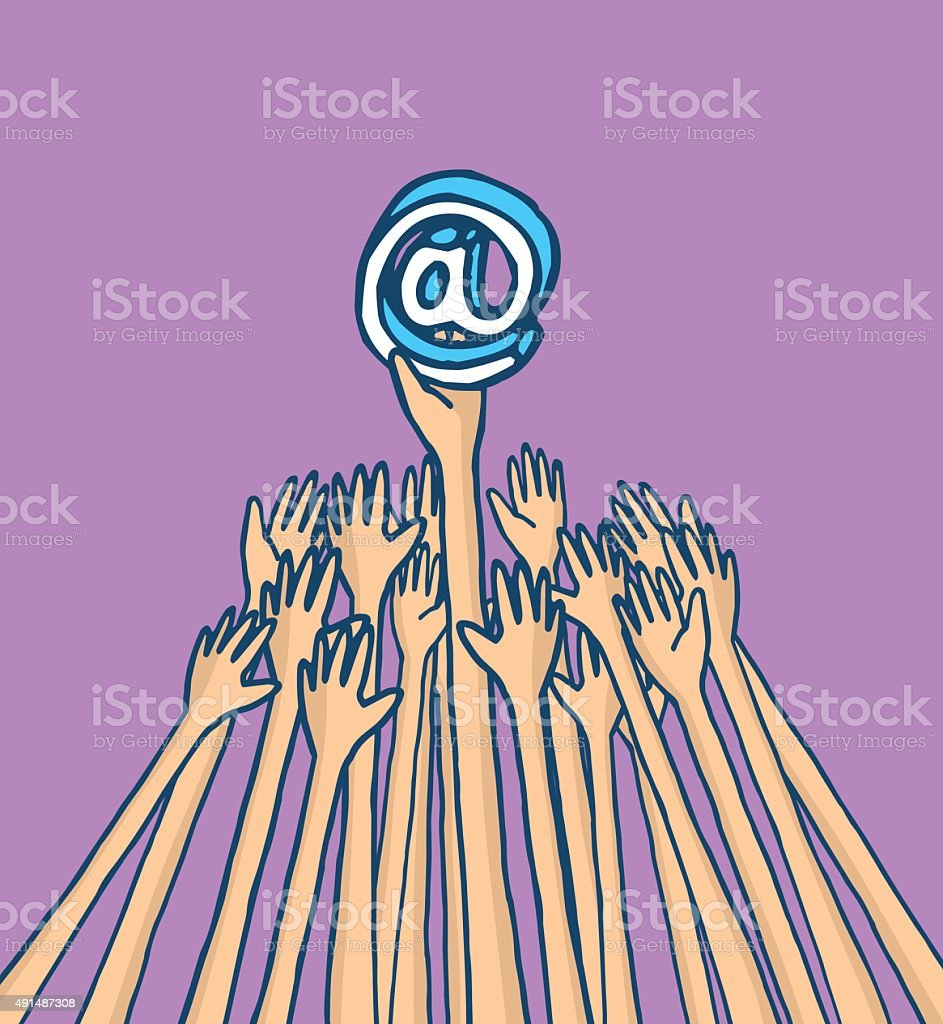 Hands struggling for at symbol vector art illustration