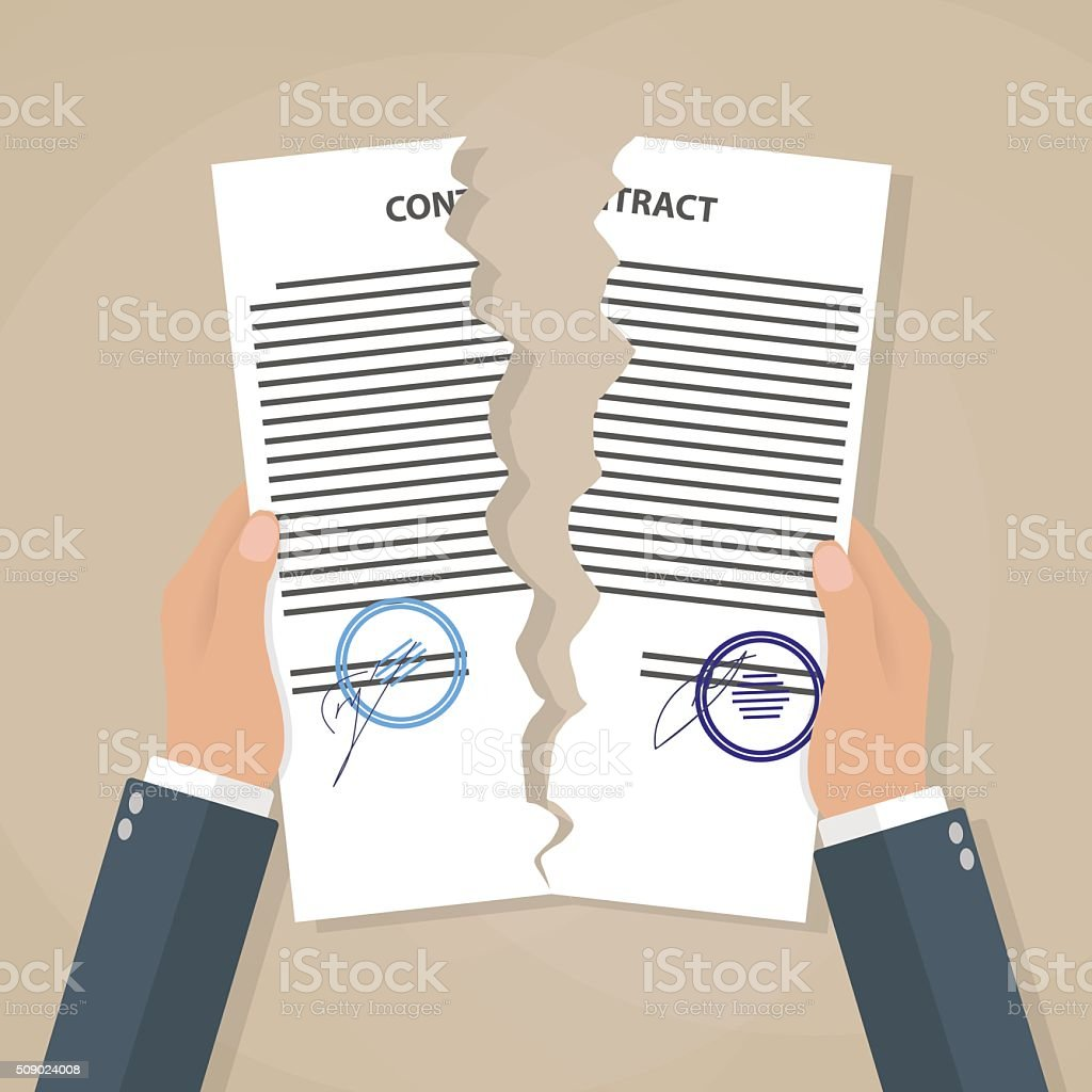 Hands tearing apart contract vector art illustration
