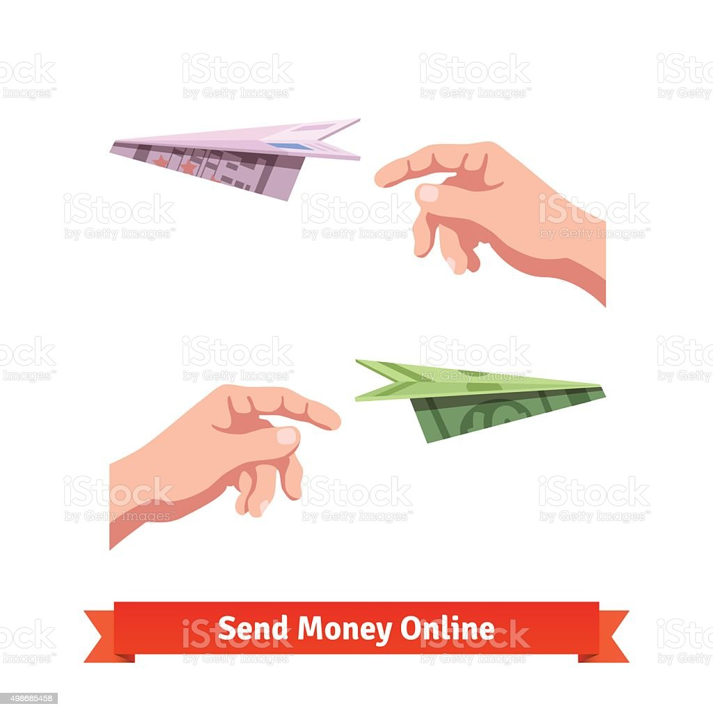 Hands throwing a dollar and euro paper planes vector art illustration