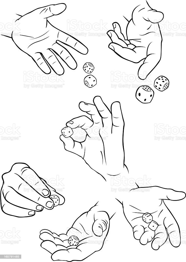 Hands throwing dice vector art illustration