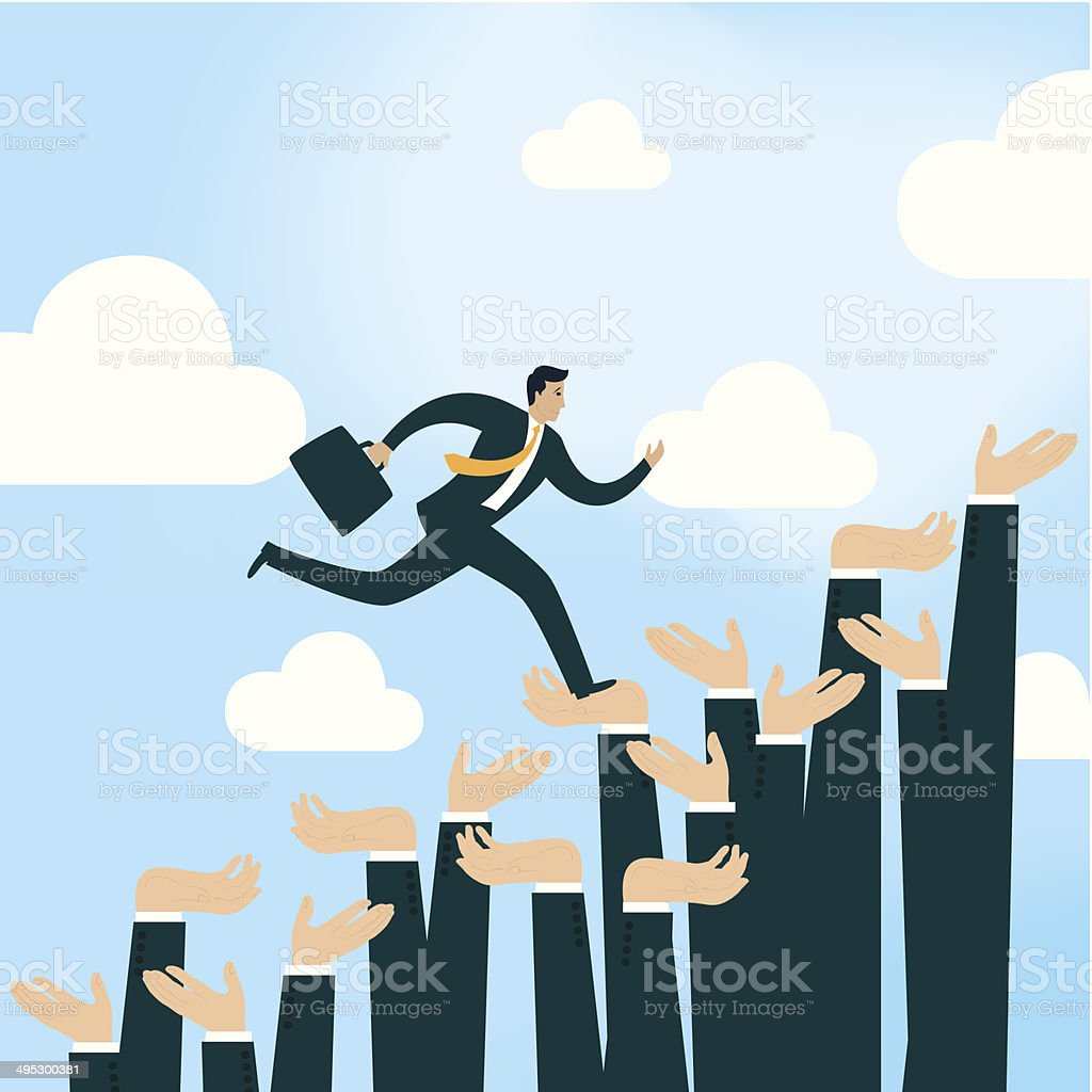 Hands to help businessman to go to success vector art illustration