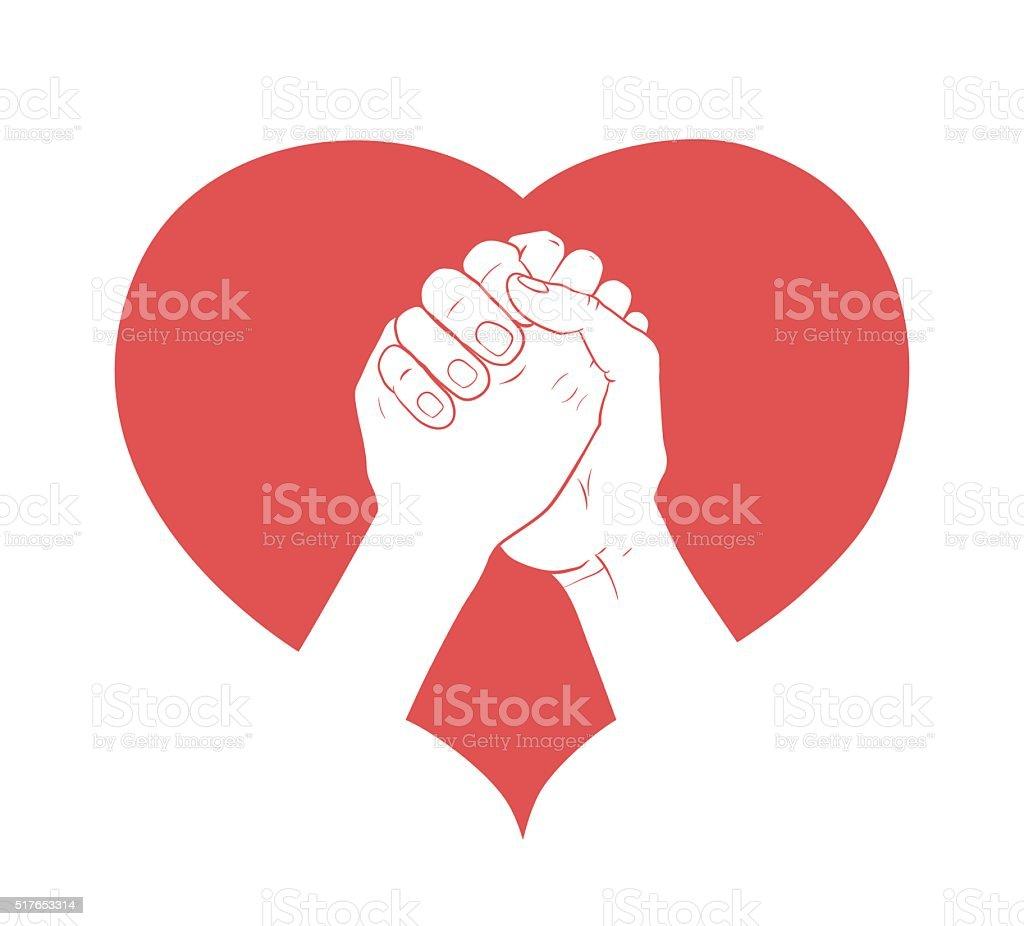 hands together in heart vector art illustration