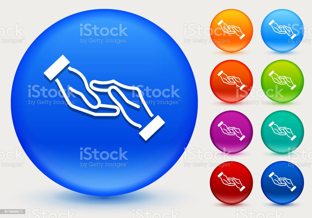 Hands Touching Icon on Shiny Color Circle Buttons vector art illustration