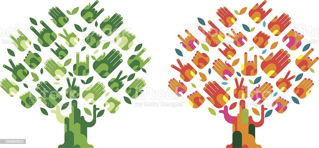 hands tree royalty-free stock vector art