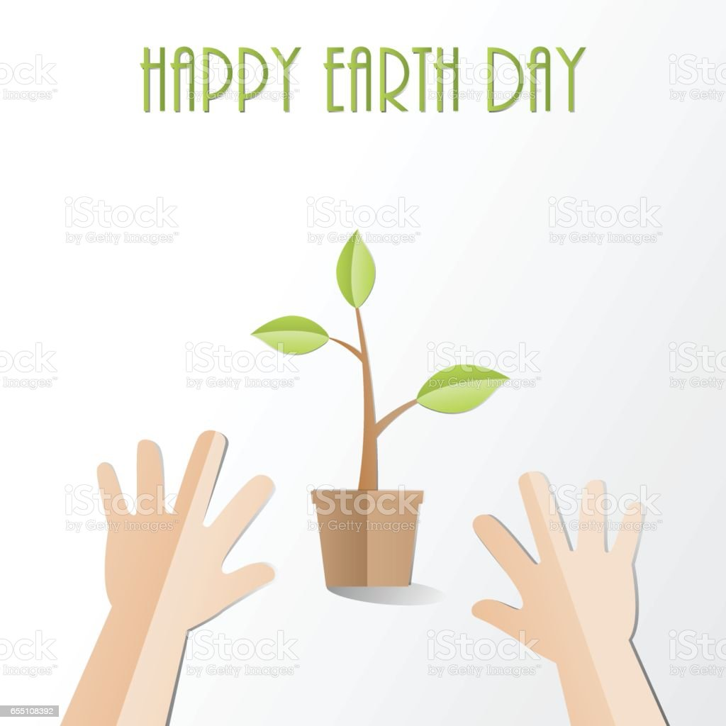 Hands try to  holding young plant with Happy Earth Day text, paper cut style  Ecology and Earth day concept vector art illustration