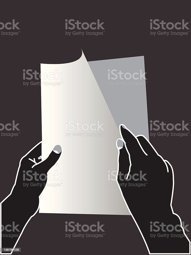 Hands turning the page royalty-free stock vector art