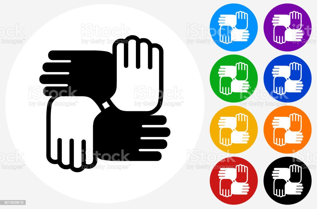 Hands United Icon on Flat Color Circle Buttons vector art illustration
