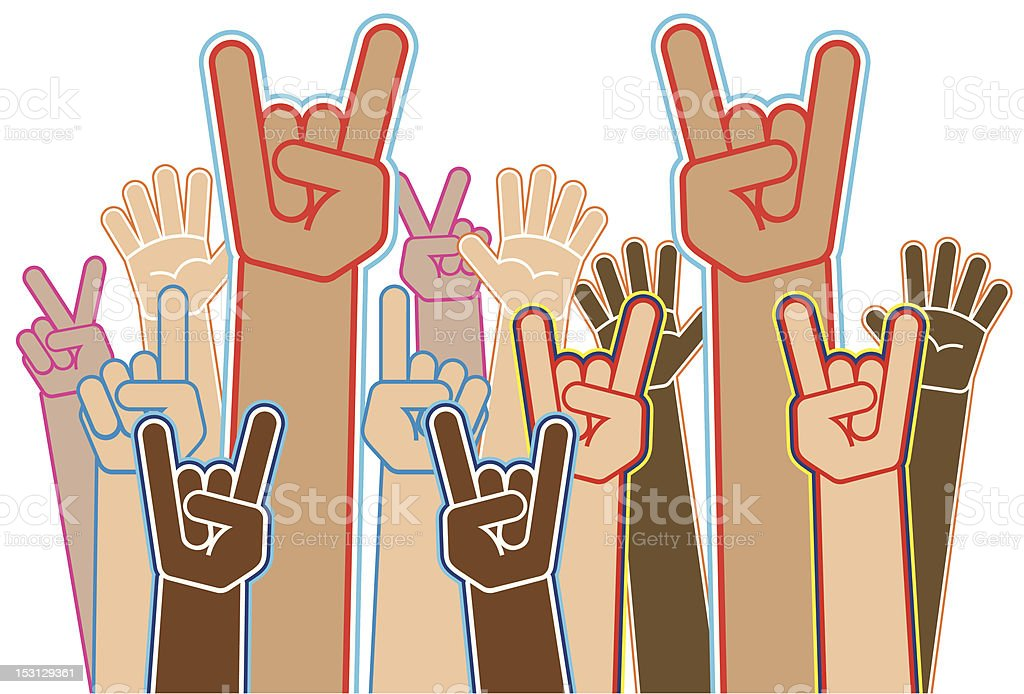 Hands up vector art illustration