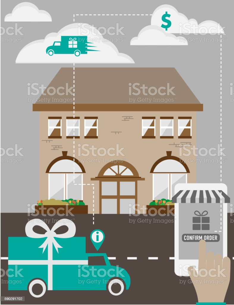 Hands using a smartphone app to order gift delivery vector art illustration