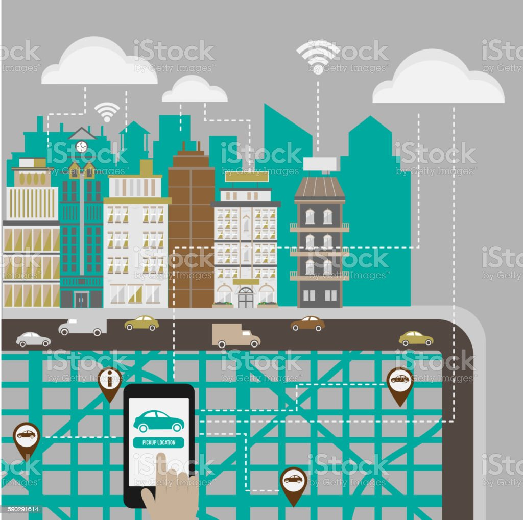 Hands using a smartphone in a smart city concept. vector art illustration