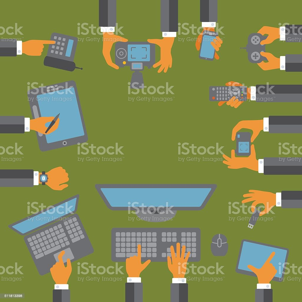 Hands using devices vector art illustration