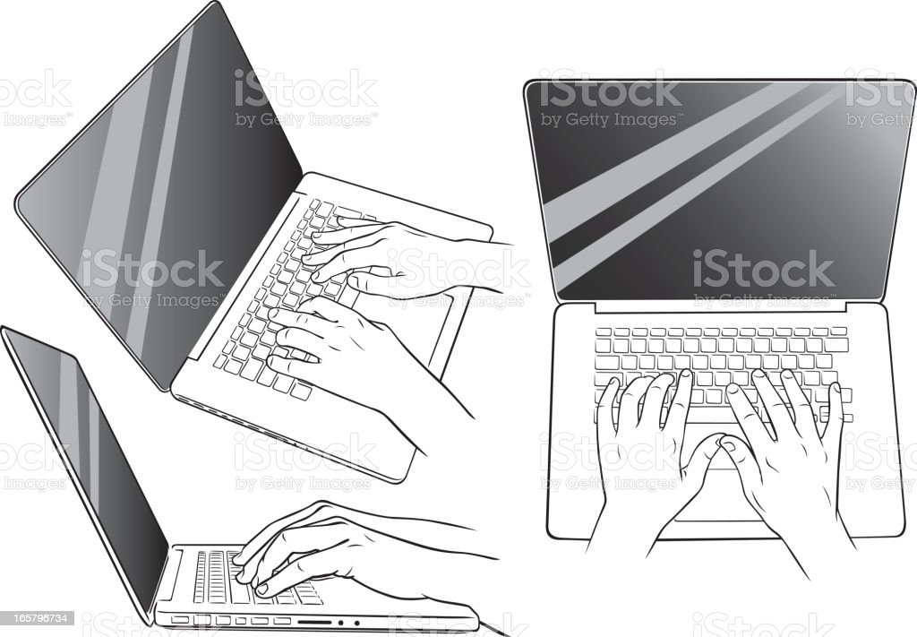 Hands using laptop royalty-free stock vector art