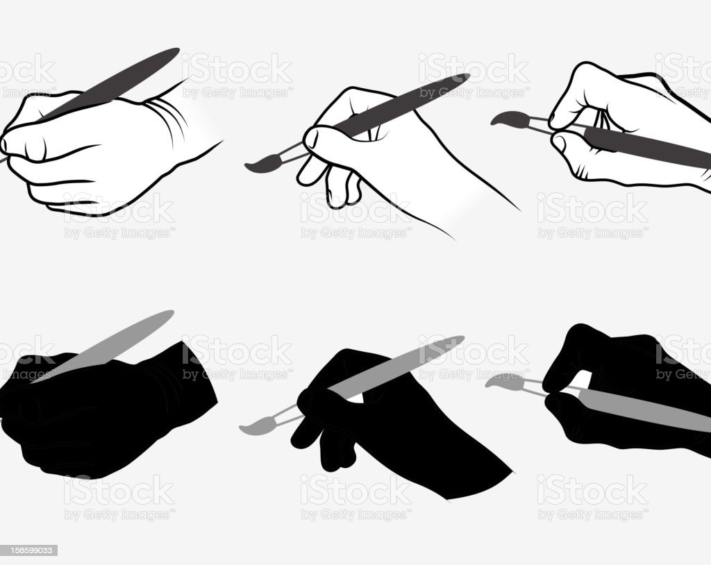 Hands Using Paintbrush Collection vector art illustration